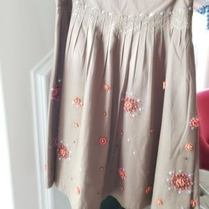 Anthropologie Brown Beaded Skirt Size 2
